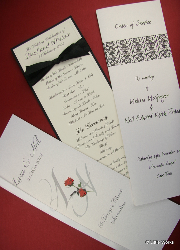 Sample selection of some Order of Service Stationery